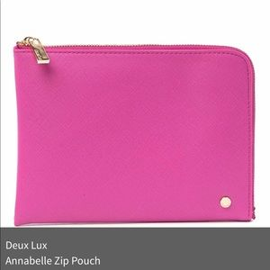NWT! DEU LUX LEATHER POUCHES: PINK BLACK & YELLOW